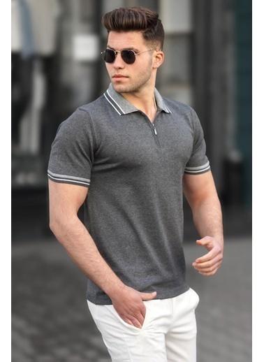 Madmext  Antrasit Basic Polo Yaka Erkek Tişört 5099 Antrasit